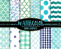 Cool Watercolor Dot Digital Paper - Digital Water Color Patterns - Printable Water Color Backgrounds with Watercolor Quatrefoil and Waves
