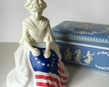 Vintage Avon Betsy Ross Cologne Bottle, Betsy Ross figurine, Avon Sonnet cologne bottle, Red, White, Blue, Patriotic figurine, America