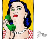 Art Print - Various Sizes - The Phone Call - Pop Art, Retro Comic Style