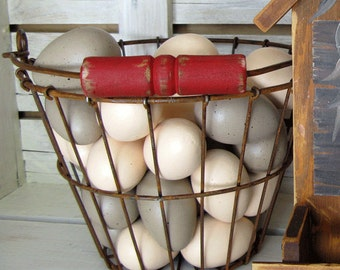 Farmhouse Decor - Wire Egg Basket, Metal Basket, Farm Basket, Egg Basket with Red Wood Handle