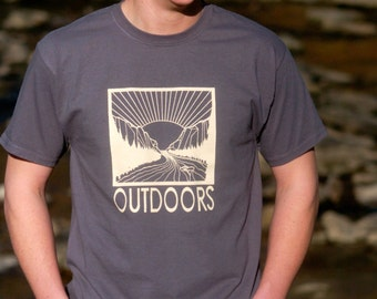 OUTDOORS Hand-Screen Printed 100% Cotton T-Shirt in Gray & Cream