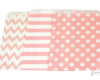 5x7 Light Baby Pink Treat bags in Chevron Dot and Stripe , Pink Rustic Treat Bags, Candy Chevron Bags, glitter Girls Birthday Paper Bags
