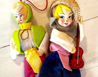 Vintage Cloth Ethnic Costumed Doll and Ornament