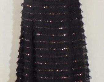 Fab vintage 1970s chiffon black evening dress with lace and gold sequins & diamante studded shoulder straps, UK size 12, US 10, EU 40.
