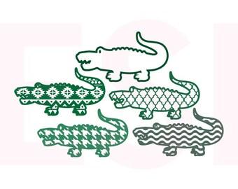 Patterned, Alligator svg, Set 2, SVG, DXF, EPS, for use with Silhouette Studio & Cricut Design Space. Aztec svg files, Houndstooth svg