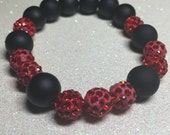 Rhinestone Stretch Beaded Bracelet - Red Pave Disco Beads - Matte Black Plastic Beads - Free Shipping within the U.S.