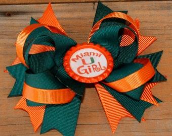 UM hair bow, University of Miami, Sebastian hair bow, green and orange bow Miami U Girl hair bow