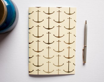 writing journal, travel journal, anchor journal, prayer journal, gold foil journal, bridesmaid gift, small sketchbook, nautical journal