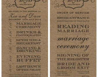 SAMPLE Rustic Brown Vintage Shabby Chic Wedding Order of Service Ceremony Cards!