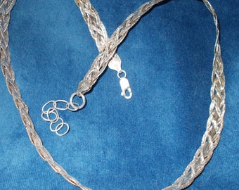 Solid sterling silver braided chain 20 inches