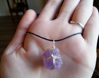 Wire Wrapped Raw Amethyst Cluster Necklace