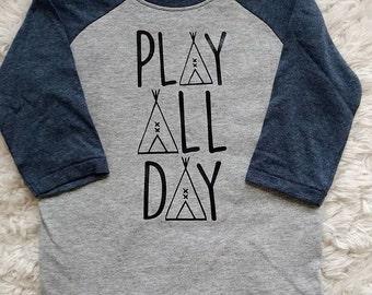 Play All Day baseball/raglan graphic tee    baby---kids---toddler