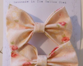 Set of 2 Fabric Bow Hair Clips, Pink with Roses
