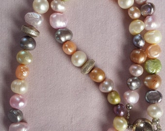 Pastel-colored freshwater pearl necklace