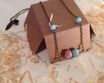 "Jewelry necklace ""Piou"" - pink and Sky Blue Bird on branch"