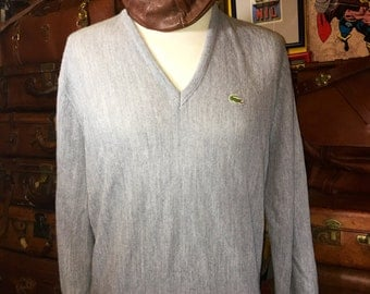 Authentic Vintage Men's Lacoste Club V Neck Heather Gray Sweater 100% Orion Acrylic Size Large--Made in the USA