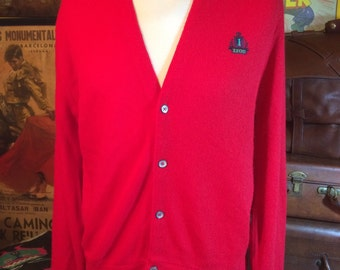 Authentic Vintage Men's Izod Red Cardigan 100% Acrylic Medium --Made in the USA