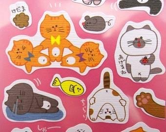 Kawaii Japanese cat chiyogami paper stickers! Super cute cat butts - calico & black kitties - paws and prints - emoticon faces - chubby fat