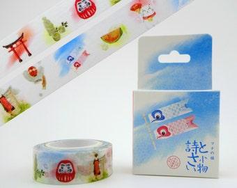 Beautiful Japanese culture 10m washi tape in a cute box! Daruma dolls & koinobori koi flags - maneki neko - Mt. Fuji - matcha tea - geisha
