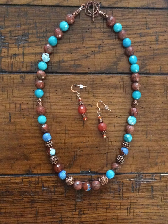FACETED AGATE AND Copper Necklace and Earrings