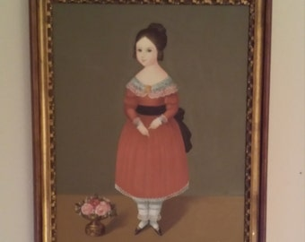 original folk art oil painting of Victorian girl signed Oscor
