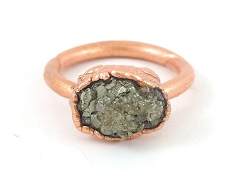 Raw Stone Ring, Pyrite Ring, Raw Crystal, Electroformed Ring, Copper Ring, Silver Gemstone, Fool's Gold, Rough, Nugget, Healing, Edgy