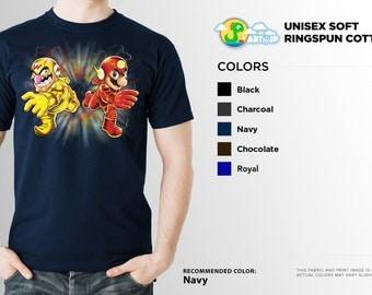 Super Mario The Flash Mashup Shirt | PREMIUM QUALITY | Wario | Nintendo | DC Comics | Superhero | Comic Tee | Geek Clothing | T-Shirt