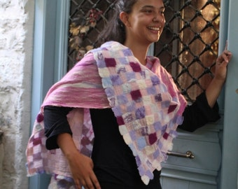Pink Mosaic. OOAK Nuno felted tunic / top / wrap / poncho. Art to wear