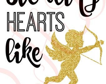 Stealing Hearts Like Cupid Valentines Day Iron On - Digital Download - You Print
