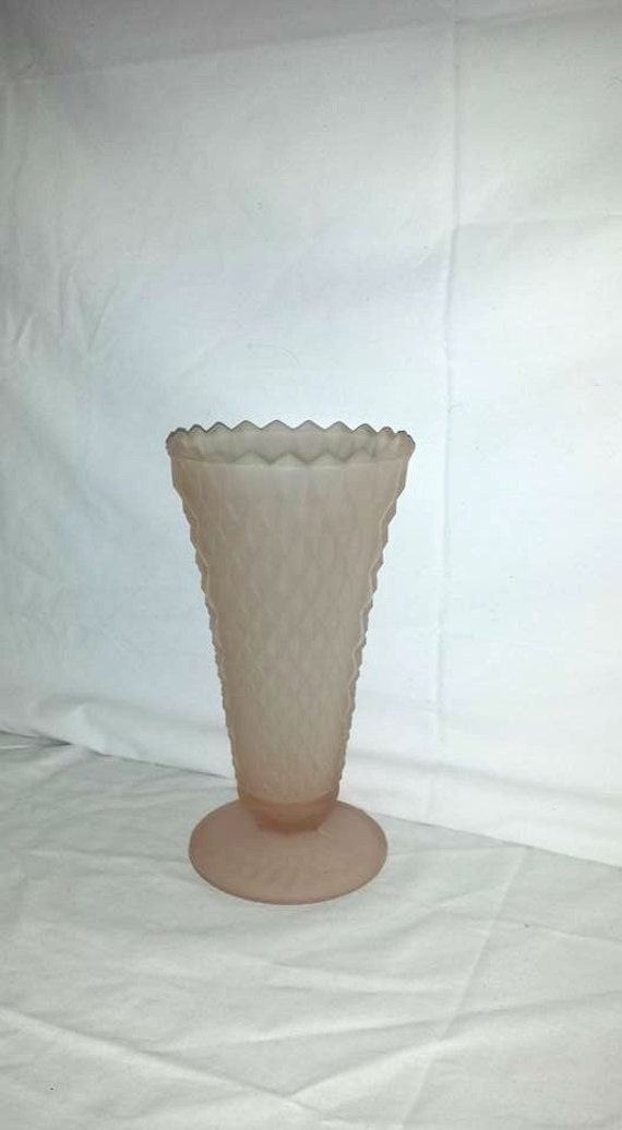 Vintage Indiana Glass Pink Satin Vase Indiana Glass Pink