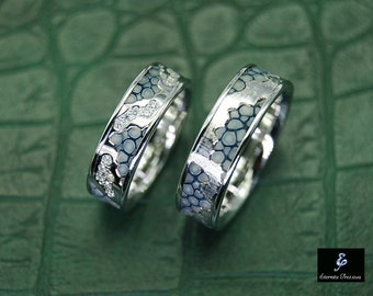 18k white gold with diamonds wedding ring set unique wedding bands 18k gold ring - Unique Wedding Ring