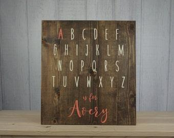 Alphabet Nursery Sign, A is for Sign, Custom Nursery Decor, Toddler Rooms, Girl or Boy