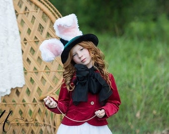 Rabbit Top Hat, March Hare Wired Furry Ears, Alice in Wonderland, Animal Festival Costume