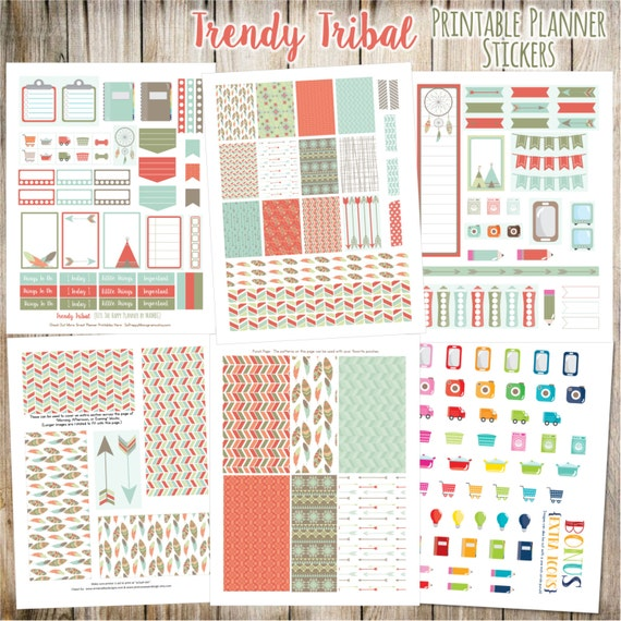 Trendy Tribal Printable Planner Stickers - 6 Full Pages!  (Made to fit The Happy Planner by MAMBI - Create 365)