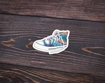 """Holographic High Top Shoe - Pack Of 3 - 4"""" Wide - Personalized Sticker - Die Cut"""