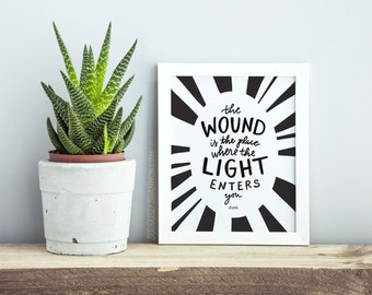 "Typography Art Print, Rumi Quote, ""The wound is the place where the light enters you"" Home Decor Sign"