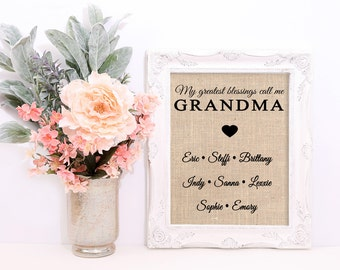 Grandma Gift, Gift for Grandma, Gift for Grandmother, Personalized Grandma Gifts, My greatest blessings call me, From Grandchildren