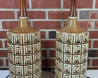 Mid Century Modern Pair of Ceramic Table Lamps in a Geometric Pattern, Tiki