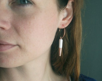 Rose Gold Spike Earrings, White and Rose Gold Statement Earrings, Rose Gold Dipped Earrings, Minimalist Bridal Jewelry, Tarnish Resistant