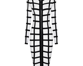 CACHE Lux bandage dress - Black/white
