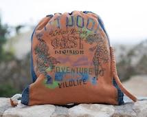 """Backpack """"Tigers on the orange"""" Denim backpack. Print with the Tigers. Denim backpack with rope straps."""