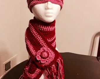 Crochet hat and scarf, Matching hat and scarf, Baby scarf, Girl scarf