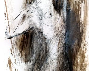 Woman sketch, Giclee print, Charcoal drawing, Woman Fine art print, Wall decor print, Figurative Graphic art print, Expressionistic artwork