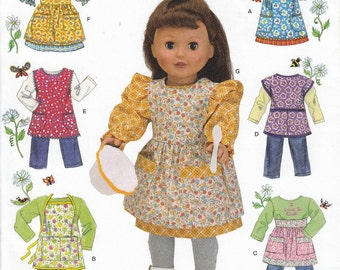 18 Inch Doll Apron Sewing Pattern, Doll Clothes Sewing Pattern, American Girl Doll Dress, Uncut Sewing Pattern, Simplicity 2761