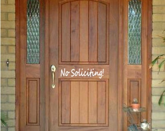 No soliciting vinyl door decal - No soliciting door decal - No soliciting decal - No soliciting sticker - No soliciting