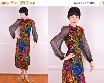 Summer Sale: 70s Psychedelic Neon Dress