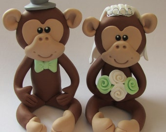 Monkey Wedding Cake Topper, Bride And Groom, Novelty Topper, Handmade