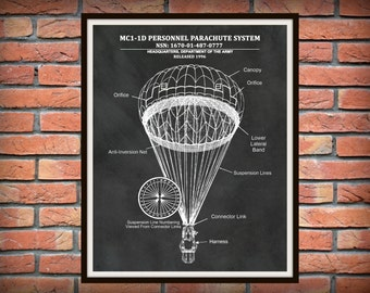 MC1-1D Parachute Drawing Personnel Parachute System - US Military Armed Forces - Soldier Wall Art - Paratrooper Wall Art - Airborne Wall Art