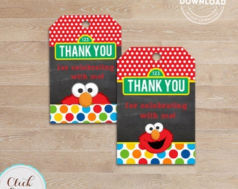 Elmo Favor tags Chalkboard, Gift tags, Thank you tags, Sticker tags, Party Decorations, Birthday Printables, INSTANT Download