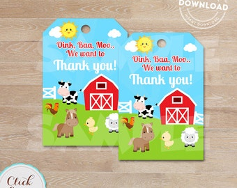 Farm Favor tags, Barnyard Gift tags, Old McDonald, Barn Animals Sticker tags, Thank you tags, digital gift tags, INSTANT DOWNLOAD